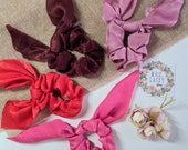 Knot Scrunchies, Bow Scrunchies, Silk Scrunchies