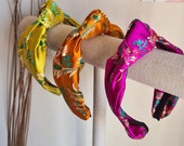Silk Embroidered Headband, Knot Headband, Hairband Turban