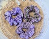 Purple Pattern Cotton, Plain Stain Scrunchies