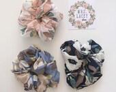 Chiffon Floral Scrunchies