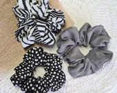 Grey, Black and White Scrunchies