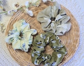 Floral, Green Scrunchies