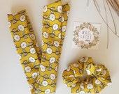 Silk Hair Scarf, Yellow Floral Scarf, Floral Scrunchies
