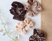 Velvet Scrunchies, Beige Colours Scrunchies