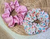 Paw Print Cotton, Pink Silk Scrunchies