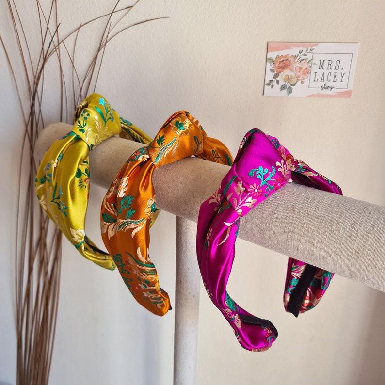 Silk Embroidered Headband Knot Headband Hairband Turban image 0