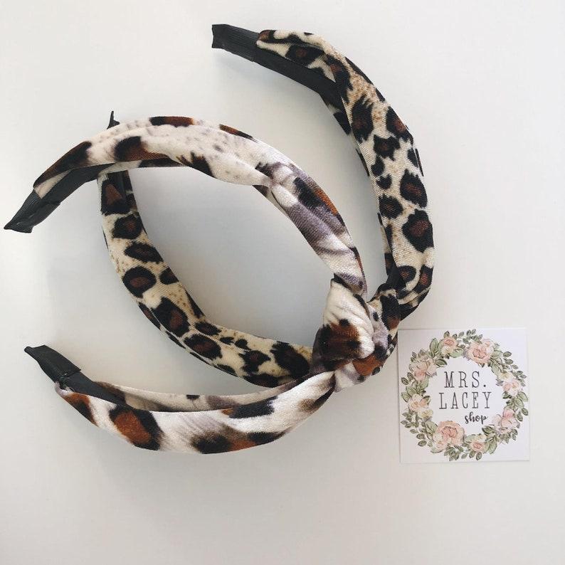 Velvet Headband Knot Headband Animal Print Headband image 0