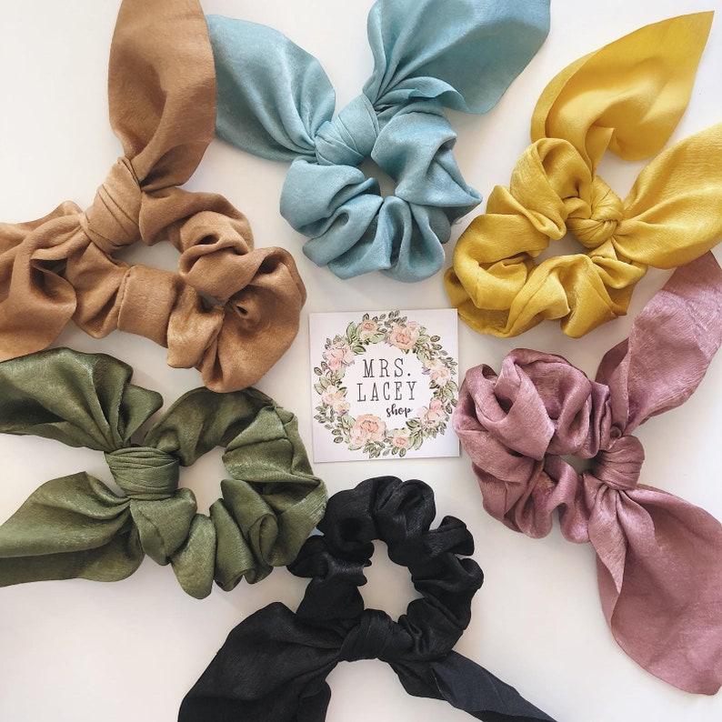 Knot Scrunchies Bow Scrunchies Silk Scrunchies image 0