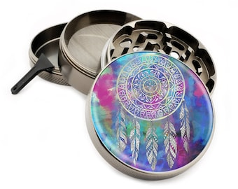 "DreamCatcher Herb Grinder with Feathers 2.5"" Large 4 Part Grinders with Pollen Catcher - Gift Box"