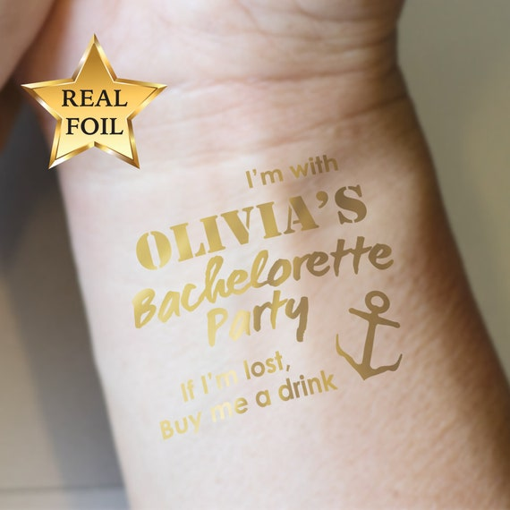 Custom Bachelorette Party Golden Tattoos Hen night temp | Etsy