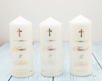 Personalised Real Foil, Wedding Candle Waterslide Decal, Wedding Unity Candle Decals
