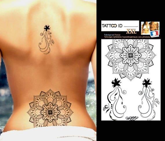 tatouage ephemere temporaire mandala tattooidxxl etsy. Black Bedroom Furniture Sets. Home Design Ideas