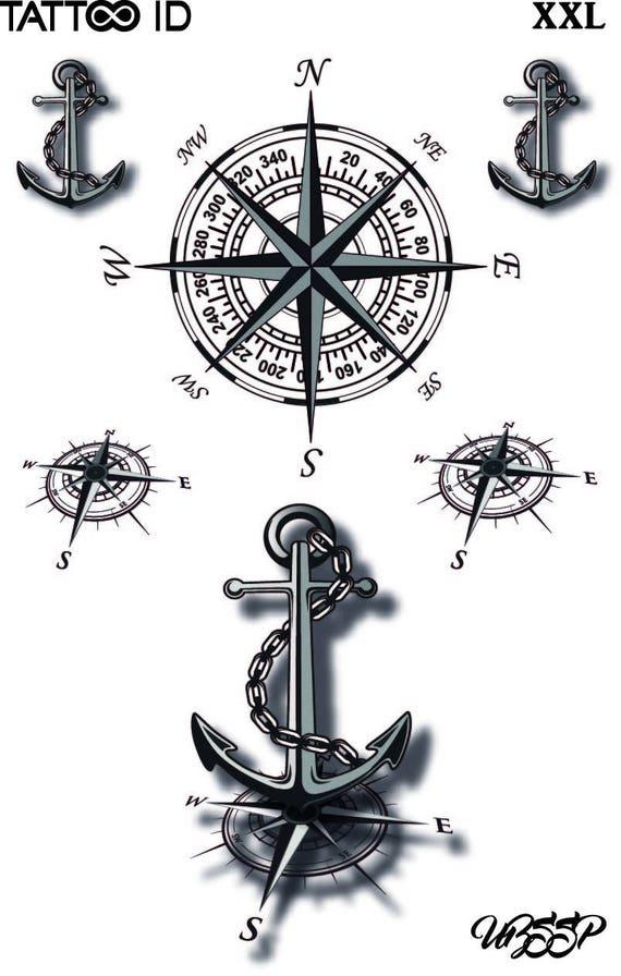Short Lived Tattoo Temporary Mariners Compass Tattooidxxl Etsy