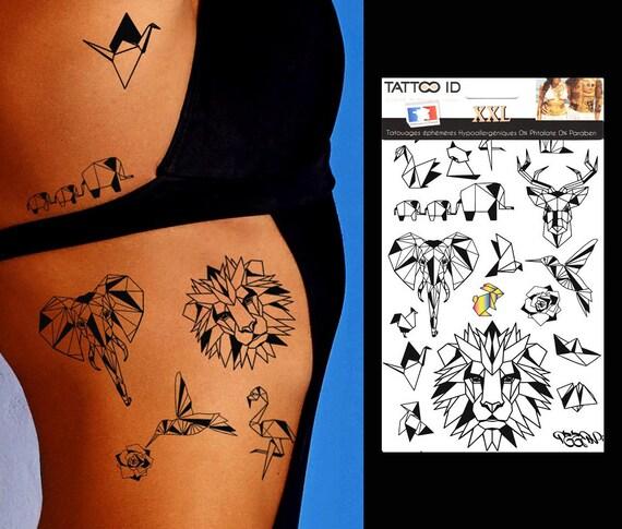 Tatouage Ephemere Temporaire Origami Animaux Tattooidxxl Etsy