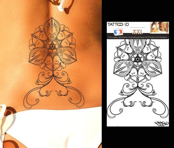 Tatouage Ephemere Temporaire Femme Gold Dore Or Lotus Mandala Fleur