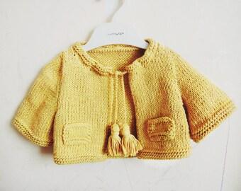 Kuzzy Design Knit Mini Cardigan,Hand Knit Cardigan,Girls hand Knit Cardigan,Newborn,0-3month,3-6month,6-9month,9-12month,1/2 year,2/3 years