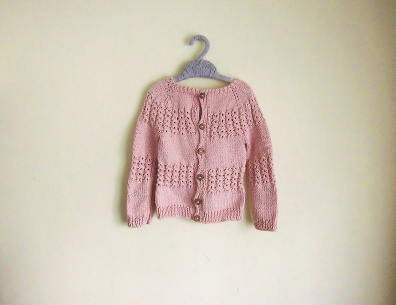 9a37056d09e2 Pink Rose Baby Knit Cardigan Child Hand Knit Cardigan