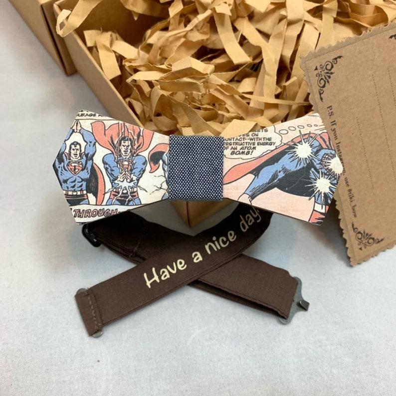 Children size Wooden Bow Tie Arrow shape with Superman Cartoon Strip