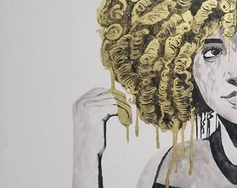 Watercolor painting - Ink - black and white - The Fro-Crown