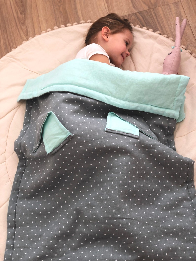 Nursery bedding or baby stroller. Linen baby blanket Linen baby cover Double-sided spotted bluemint green blanket with bunny ears
