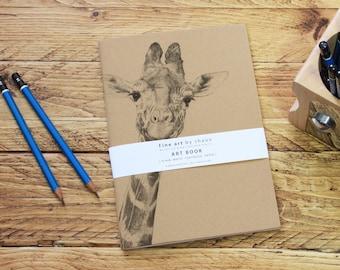 Personalised Giraffe A5 Sketch Notepad Kraft