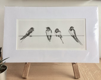 Swallows Print- Birds Giclee Special Edition- 'Hold the Line'