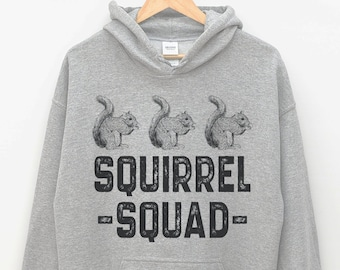 4d9144726a05 UNISEX Squirrel Squad Hoodie - Funny Squirrel Gifts for Squirrel Lovers  Hooded Sweatshirt