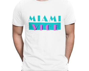 Miami Vice Vintage T-shirt Retro 80 Tv Series Black Men Printed Tee