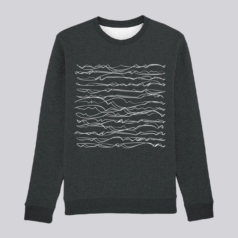 Wave sweatshirt in Organic Cotton for men and women printed Gray
