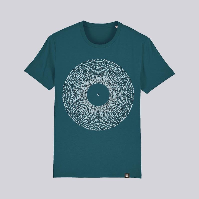 Microgroove graphic organic cotton t-shirt for men and women Bleu-vert