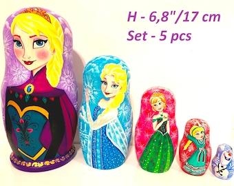 1617b503ad9a9 Nesting dolls frozen | Etsy