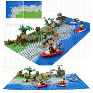 City Series Building Scene Kit DIY Baseplate 32*32 Studs 10*10 inches Compatible with Major Bricks Sport Field Court