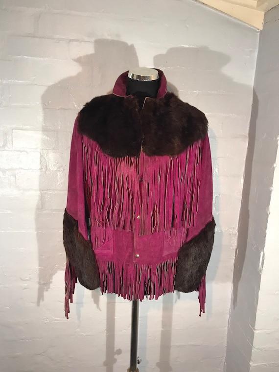 Vtg 60s fringe jkt - purple suede - real fur trim