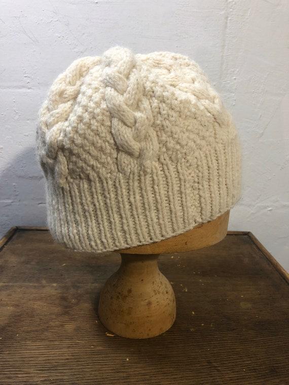 Hand knit Arron beanie - cream wool knit