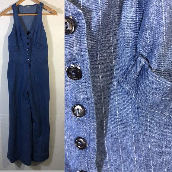 Jumpsuit 70s denim stripe sleeveless made in USA