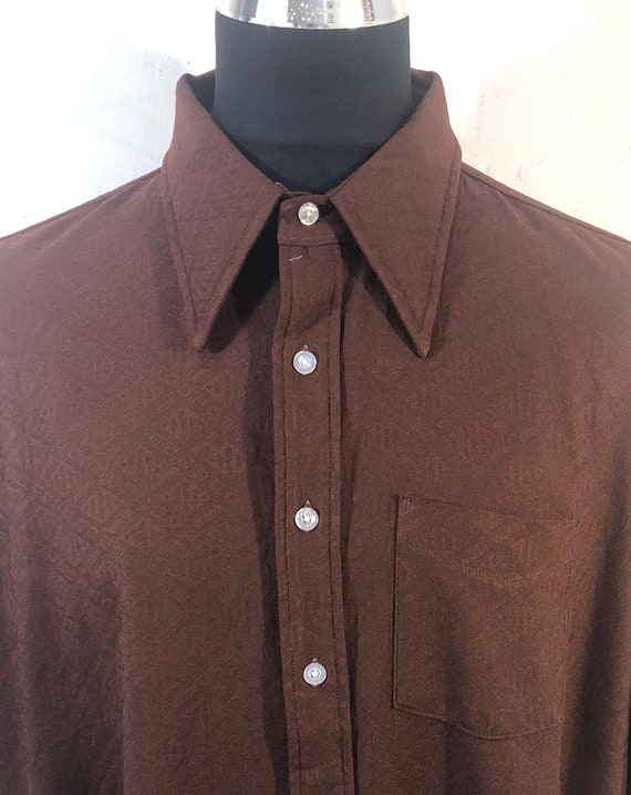 Vtg 70s mens shirt-dagger collars-short sleeve