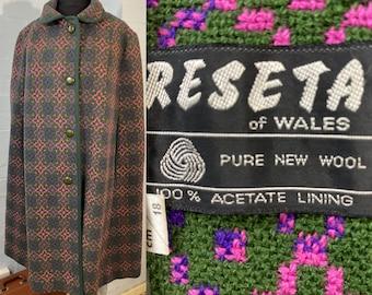 "Vtg 60s Welsh wool cape"" Reseta ""of Wales pure wool"