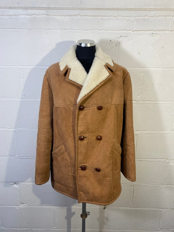 Vtg Gents Sheepskin Coat double breasted