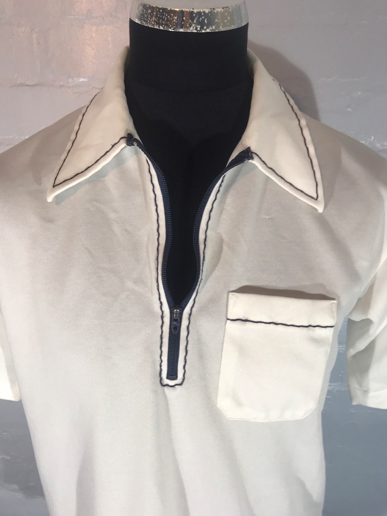 Vtg 70s  zip polo top career club made in USA