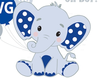 Elephant Svg File Boy Elephant Clip Art Cricut Print And Etsy