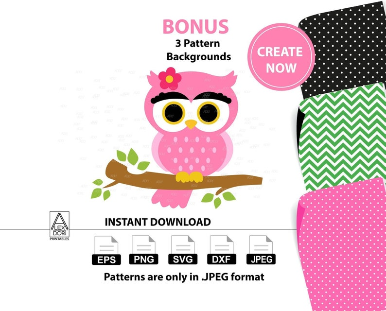 cea549506fc Cute Girl Owl Clip art owl with flower clip SVG vector Pink