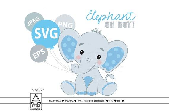 Elephant Svg File Boy Elephant Clip Art Cricut Print And Etsy