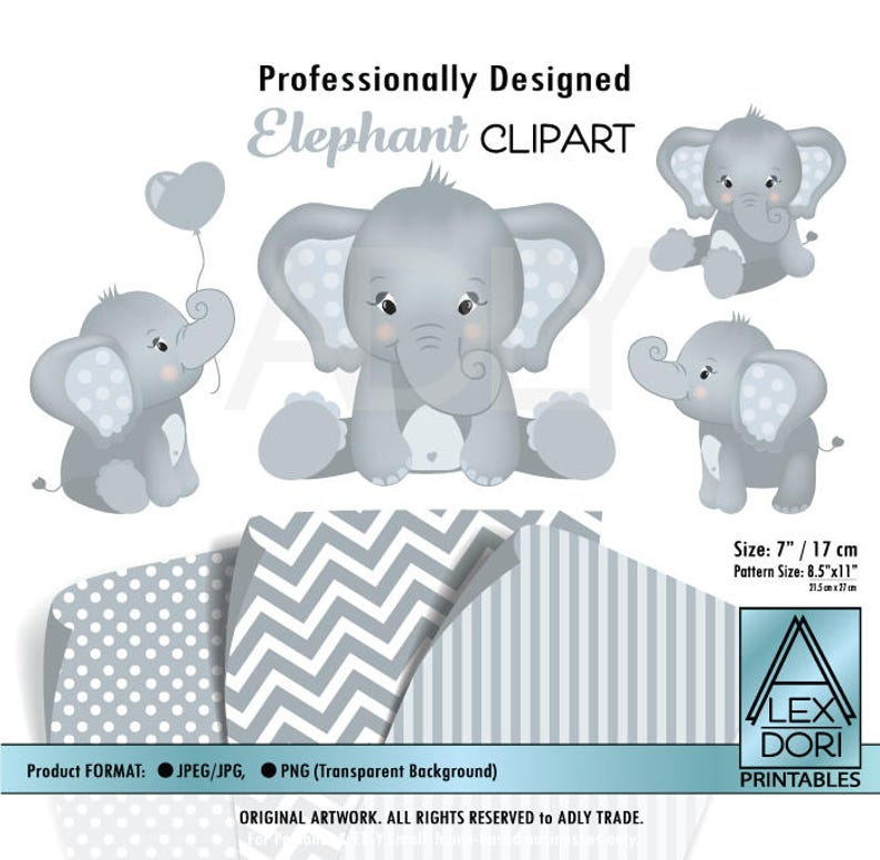 Elefanten Clipart Digitale Clipart Png Clipart Elefant Für Kinderzimmer Elephany Baby Dusche Soft Weiß Und Grau Kommerzielle Clipart