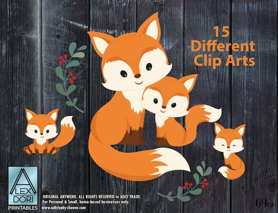 Fox clip art Cute Little Baby Fox Mommy woodland vector   Etsy (570 x 438 Pixel)