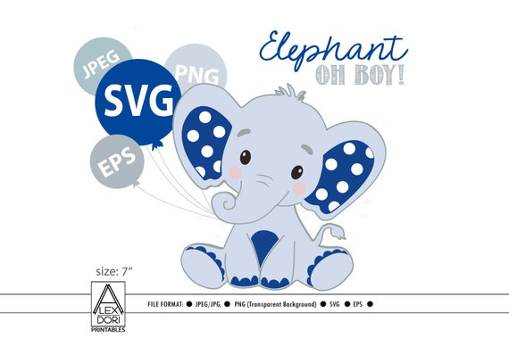 Royal Blue Baby Boy Elephant Svg File Clip Art Cricut Print Etsy