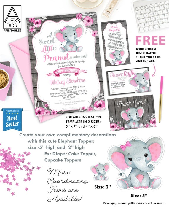 Pink Gray Elephant Baby Shower Invitation Printable