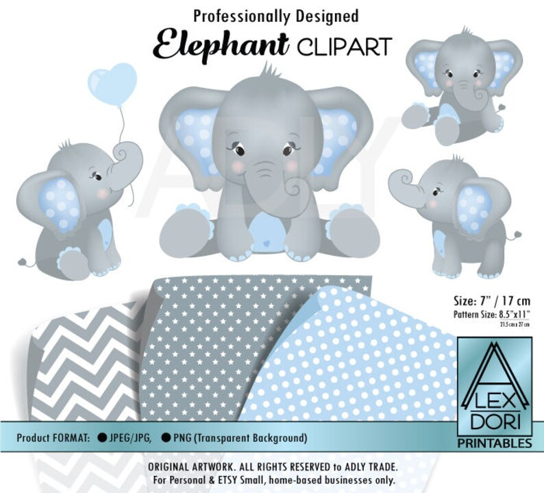 Gray Elephant Clipart Baby Blue And Grey Peanut Clip Art Png Etsy