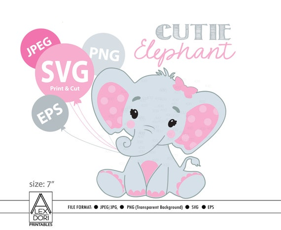 Elephant Svg File Pink Elephant Clip Art Girl Cricut Print Etsy