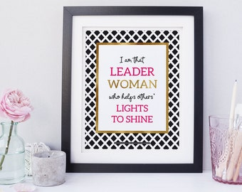 Leadership Quote Fall Gifts for Her  Modern Wall Art Positive Quote Wall Art Inspirational Quote Kate Spade Inspired Office Décor