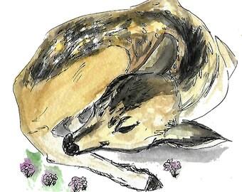 Deer Forest Friends Digital Print watercolor